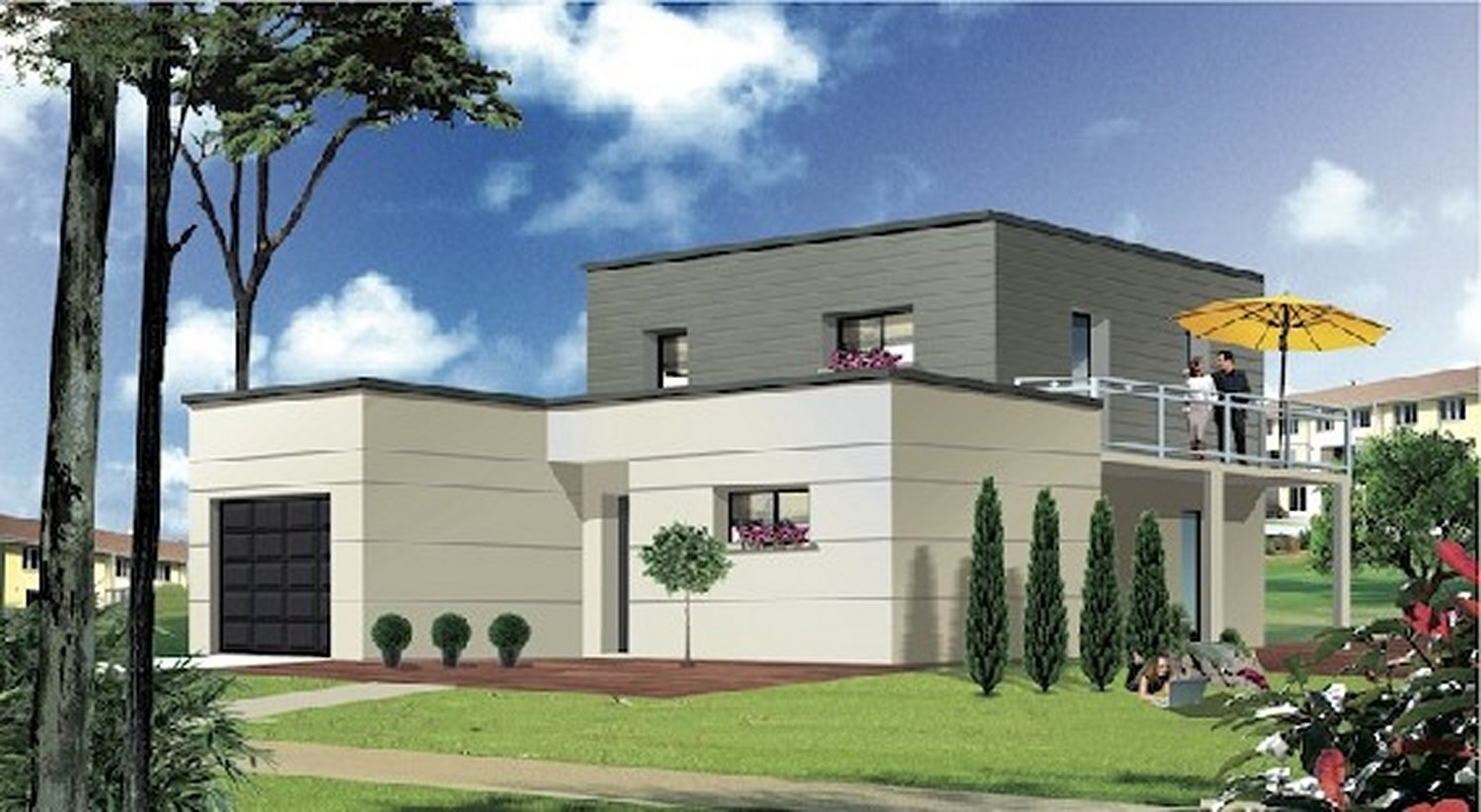 Plan maison contemporaine toit plat maison moderne - Plan de maisons contemporaines ...