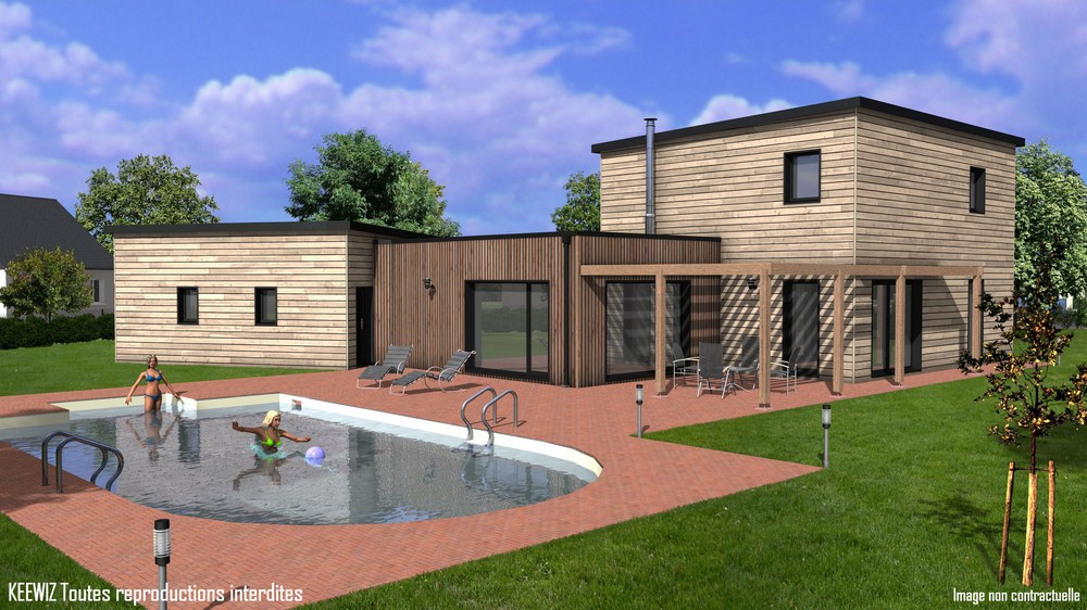 Plan maison bois etage toit plat for Exemple maison