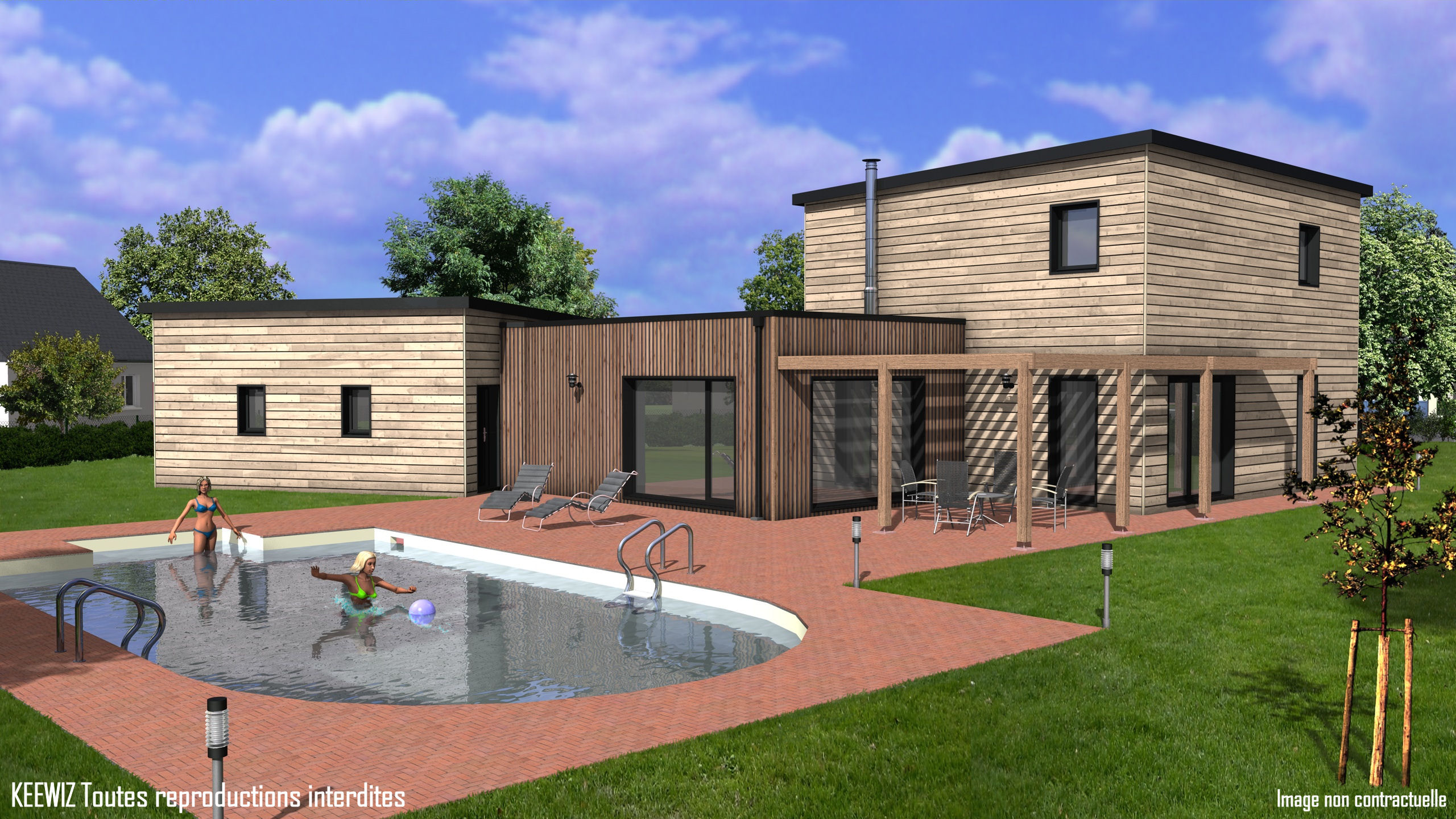 Prime gironde constructeur maisons individuelles - Plan maison toit terrasse ...