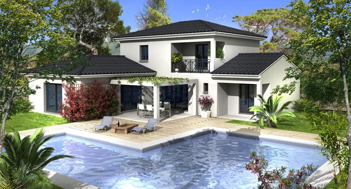 plan maison villa prisme